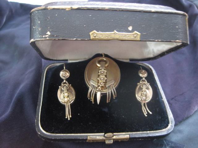 Victorian Rose Gold Earrings/Brooch cum Pendant Set in Original Box