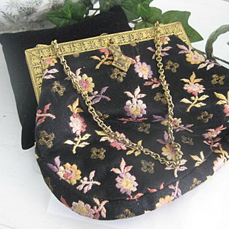 Adorable Vintage Purse w/Embroidered Flowers, Pretty Frame