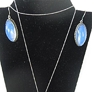 Vintage Silver and Moonstone Necklace w/Matching Earrings