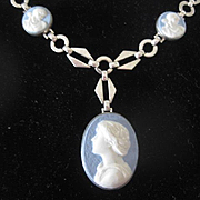 Blue Wedgwood Cameos on Art Deco Style Chain