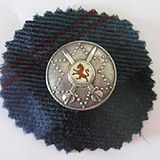"c1910 Birmingham Silver Scottish ""Targe"" Style Brooch w/Red Lion"