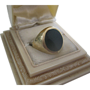 Vintage English 9ct Gold/Onyx Man's Ring, Size 9.75