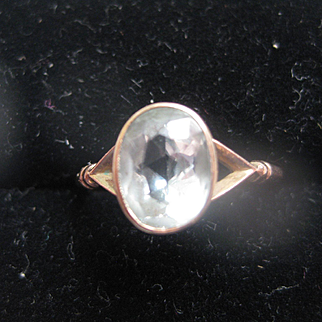 Early Vintage 9ct Rose Gold Ring with Pale Aqua Stone, Size 6