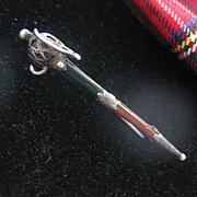 Victorian Scottish Silver/Jasper Kilt Pin/Brooch AS IS