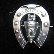 Vintage Silver Horseshoe with Owl - GREEK