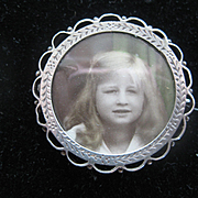 Vintage French Engraved Silver Portrait Pin/Stand