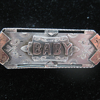 Early 1900s Rose Gold on Silver BABY Brooch