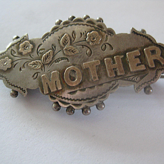 "Early 1900s English Rose Gold on Silver ""MOTHER"" Brooch"