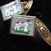 Vintage Carved Under Glass Terrier Dog Cufflinks