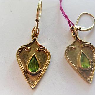Stunning Pair of English 9ct Gold Pierced Earrings w/Toumaline