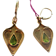 Stunning Pair of English 9ct Gold Pierced Earrings w/Tourmaline