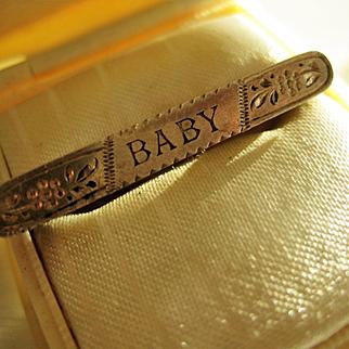 "Silver English Victorian ""BABY""  Pin 1 1/4 ins long"