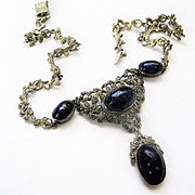 Beautiful Vintage Lapis Luzuli/Marcasite/Silver Necklace