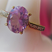 Pretty Vintage 9ct Gold/Amethyst Ring, Size 8.5