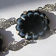 Unusual Vintage Black Banded Agate Bracelet