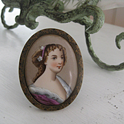 Antique Miniature of Pretty Lady - standing frame