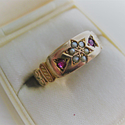 Vintage 9ct Rose Gold/Pearl and Ruby Ring