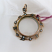 Beautiful English Rose Gold/Glass Portrait Locket w/Seed Pearls