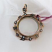 Beautiful English Rose Gold/Glass Portrait Locket w/Seed Pearls