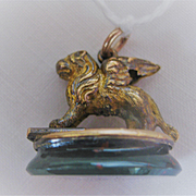"Victorian Griffin Watch Fob - GF Body on Bloodstone Base ""Venezia)"