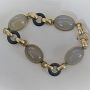 Early 1900s Gold Filled Bracelet with Agates