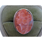 Beautiful Vintage 14k Coral Sculpted Ring Size 7