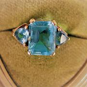 Vibrant Vintage Blue Topaz 3-Stone 10k Ring, Size 8.5