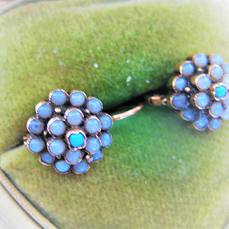 Adorable Victorian Gold Earrings Moonstone/Turquoise