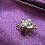 Adorable Tiny 14k Gold and Diamond Bee Pin