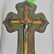 Large Very Old Wooden Crucifix