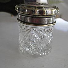 Victorian Cut Glass Dresser Pot w/Plated Lid
