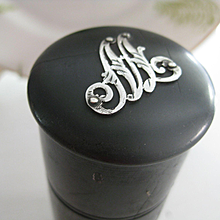 """Victorian Black Wood Hairpin Holder - Initial """"M"""""""