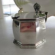 English Hallmarked Silver Mustard Pot c1925 w/Orig Liner