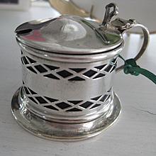 Vintage English Silver Plate Mustard Pot w/Original Liner