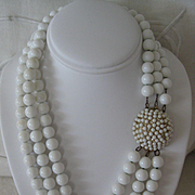 Vintage White Bead Necklace (ONLY) smaller size -15 inches long