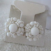 Vintage White Beaded Earrings (ONLY), Screw Backs