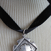 English Hallmarked Medal, B'ham 1928 on Velvet Ribbon
