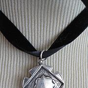 English Hallmarked Medal, B'ham 1928 on Velvet Ribbon