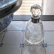Beautiful English Crystal/Hallmarked Silver Perfume Bottle-Early 1900s