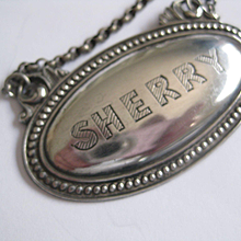 Very Elegant SHERRY Decanter Label from England
