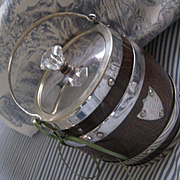 Vintage English Wood/Plated Silver Biscuit Barrel