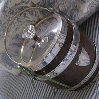 Vintage English Wood/Plated Silver Biscuit Barrel