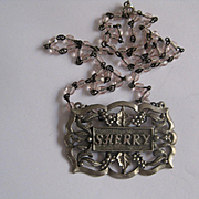 Vintage SHERRY Decanter Label with Chain