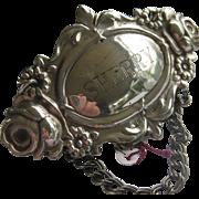 Fine Hallmarked Silver (London) Decanter Label SHERRY