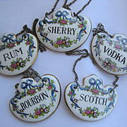Set of 5 Vintage Porcelain Decanter Labels