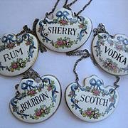 Set of 5 Vintage Porcelain Decanter Labels