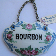 Single French Vintage Decanter Label BOURBON