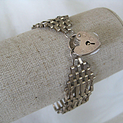 "Vintage English Silver ""gate"" Bracelet w/Heart"