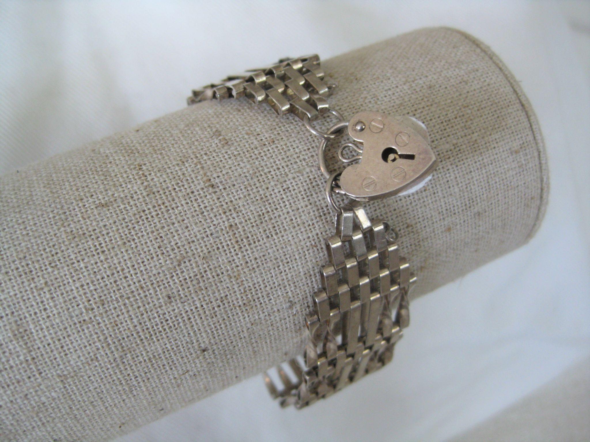 """Vintage English Silver """"gate"""" Bracelet w/Heart"""
