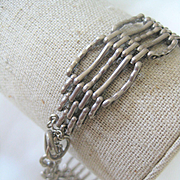 Vintage English Silver Gate Bracelet w/Fancy Links & Heart